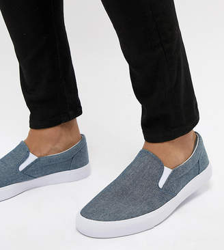 Asos Design Wide Fit Slip On Plimsolls In Blue Chambray