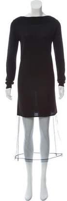 Maison Margiela Tulle-Trimmed Wool Sweater Dress