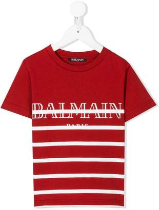Balmain Kids striped logo print T-shirt