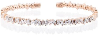 Suzanne Kalan 18K Rose Gold and diamond Fireworks Classic Baguette Bangle