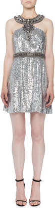 Andrew Gn Sequin Halter Cocktail Dress