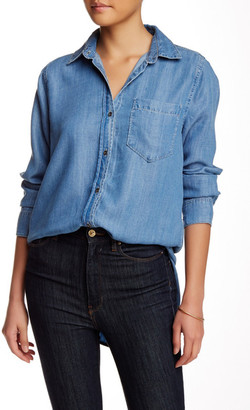 Adrienne Vittadini Long Sleeve Button Down Chambray Blouse $78 thestylecure.com