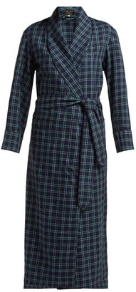 Emma Willis - Clark Checked Cotton Robe - Womens - Blue Multi
