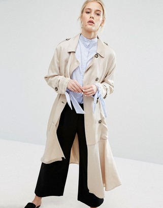 Zacro Belted Trench Coat With Asymmetric Hem