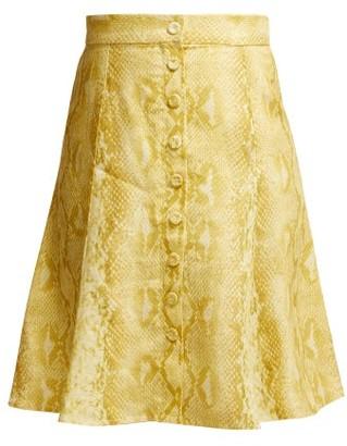 Emilia Wickstead Ines Python Print Linen Skirt - Womens - Yellow