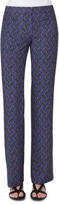 Akris punto Marla Abstract-Print Pants, Blue Pattern $595 thestylecure.com