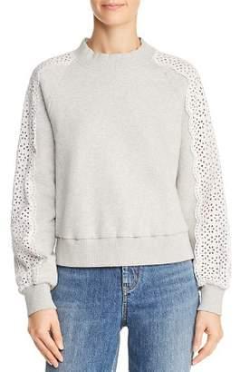 0173823131 ... Rebecca Taylor Eyelet Sleeve Sweatshirt