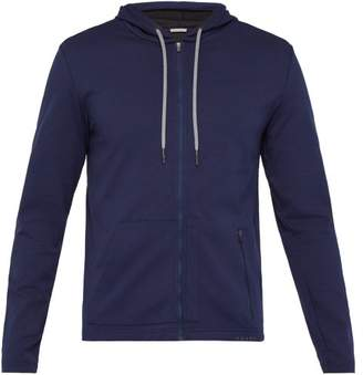 Falke Ess - Zip Through Cotton Stretch Hooded Sweatshirt - Mens - Navy