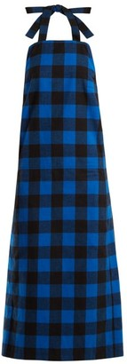 Vetements Checked Flannel Apron Dress - Womens - Black Blue