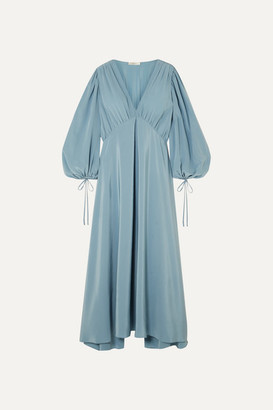 The Row Sante Gathered Silk Crepe De Chine Maxi Dress - Blue