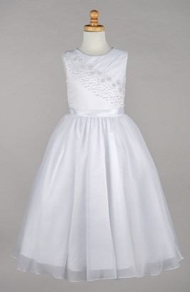 Girl's Lauren Marie Beaded Daisy Bodice First Communion Dress $164 thestylecure.com