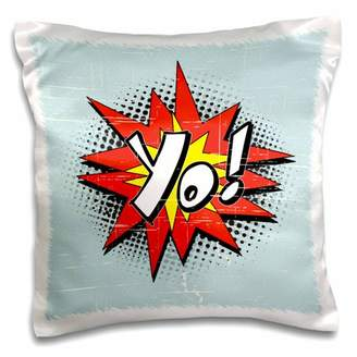 3dRose Yo Hipster Geek Comic Book Style Exclamation Expression Cartoon Graphic - Pillow Case, 16 by 16-inch