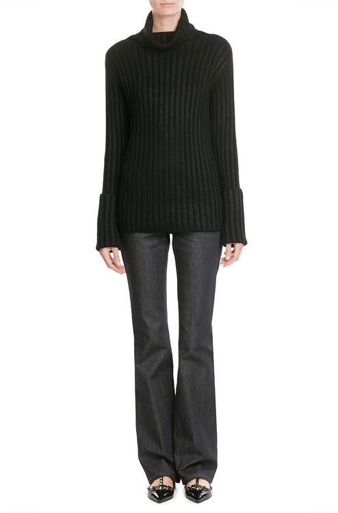 Valentino Valentino Ribbed Turtleneck with Wool and Cashmere