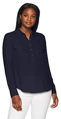 Lark & Ro Women's Sheer Utility Blouse