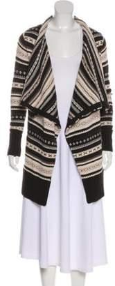 Alice + Olivia Wool Open Knit Cardigan Brown Wool Open Knit Cardigan