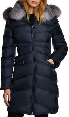 Dawn Levy Chloe Fox-Fur Trim Corset Puffer Jacket