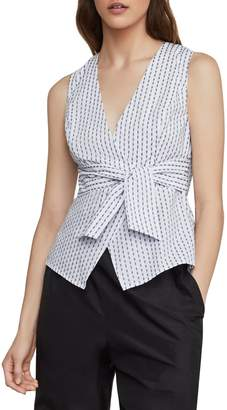BCBGMAXAZRIA Ikat Stripe Faux Wrap Cotton Blend Top
