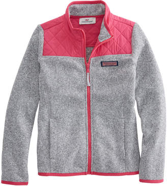 Vineyard Vines Girls Sweater Fleece Full-Zip Shep Shirt
