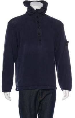 Stone Island Hooded Logo-Appliqué Henley Sweater