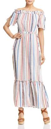 1 STATE 1.STATE Off-the-Shoulder Stripe Maxi Dress