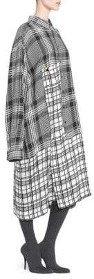Balenciaga Mixed Plaid Shirtdress