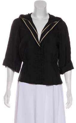CNC Costume National Hooded Pleated Blouse