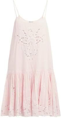 Juliet Dunn Floral Broderie Anglaise Cotton Mini Dress - Womens - Pink
