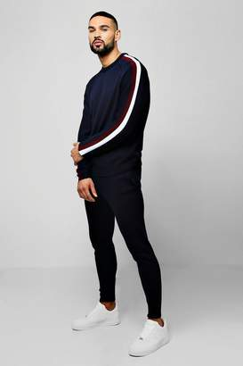 BoohooMAN Knitted Sweater Tracksuit With Side Stripes