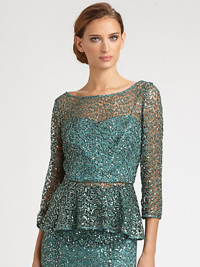 Kay Unger Sequined Lace Peplum Top
