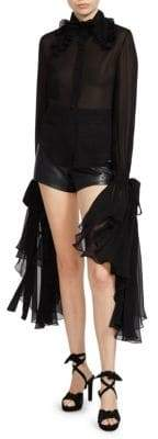 Saint Laurent Women's Exaggerated Cuff Silk Blouse - Black - Size 40 (8)