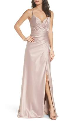 La Femme Strappy Ruched Bodice Gown