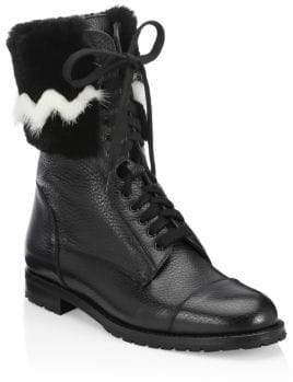Manolo Blahnik Campchato Rabbit& Mink Fur Boots