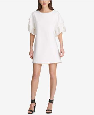 DKNY Chiffon-Sleeve Shift Dress