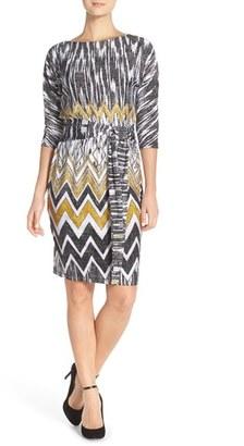 Ellen Tracy Belted Print Jersey Shift Dress $118 thestylecure.com