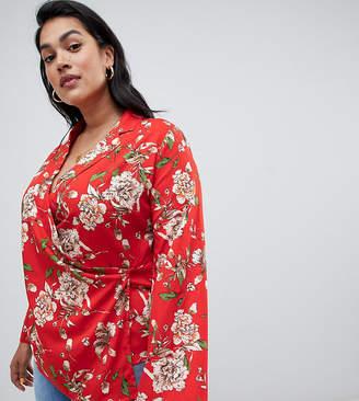 Asos Influence Plus floral wrap blouse