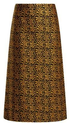 La Doublej - Foglie Leaf Motif Jacquard Midi Skirt - Womens - Gold Multi