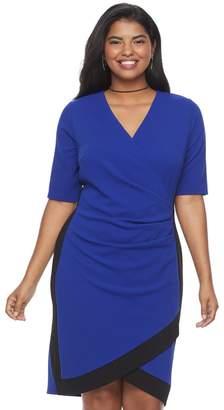 Almost Famous Juniors' Plus Size Colorblock Faux-Wrap Dress