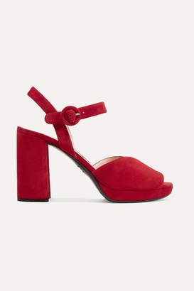Prada Suede Platform Sandals - Red