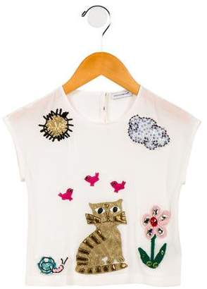 Dolce & Gabbana Girls' Embellished Silk Top