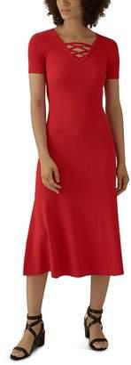 Karen Millen Lace-Up Rib-Knit Midi Dress