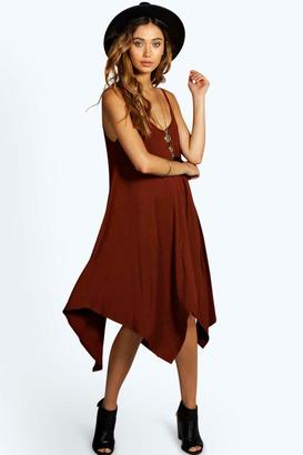 boohoo Jen Asymmetric Nem Strappy Swing Dress