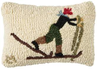L.L. Bean L.L.Bean Wool Hooked Throw Pillow, Back Country Skier