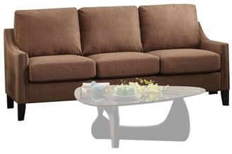ACME Furniture ACME Zapata Jr Nailhead Sofa in Brown Linen Upholstery