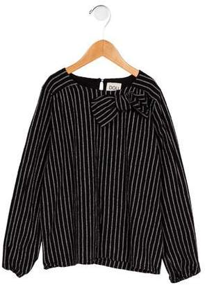 Douuod Girls' Striped Bow-Accented Top