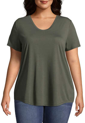 Boutique + + Short Sleeve Scoop Neck T-Shirt - Plus