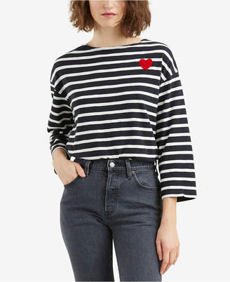 Levi's Cotton Striped Heart-Graphic T-Shirt