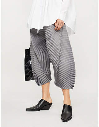 Issey Miyake Circle-pleated dropped-crotch trousers