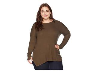 Michael Stars 2X1 Rib Long Sleeve Scoop Neck Tunic with Thumbholes