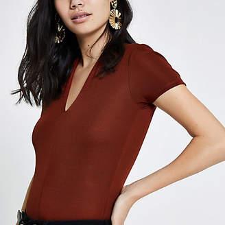 River Island Womens Dark Red v neck fitted bodysuit