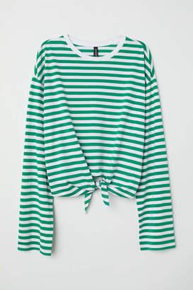 H&M Tie-hem Top - Red/white striped - Women